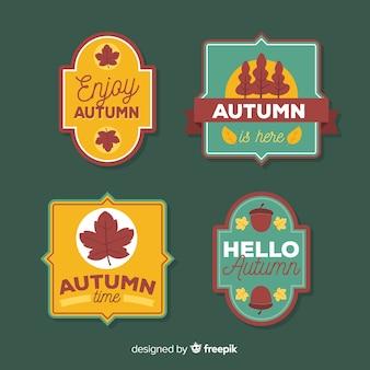 Vintage stijl herfst badge collectie