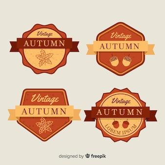 Vintage stijl herfst kenteken collectie