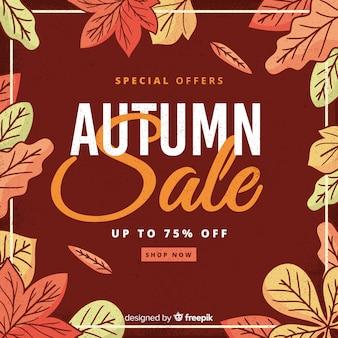 Vintage stijl herfst verkoop achtergrond