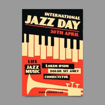 Vintage stijl internationale jazzdag poster