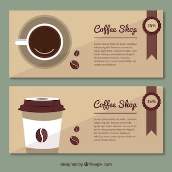Vintage stijl koffie banners