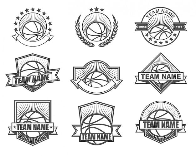 Vintage stijl logo ontwerp voor basketbalteam