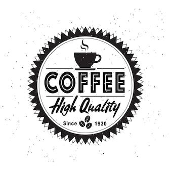 Vintage stijl mode logo van coffeeshop op witte achtergrond.
