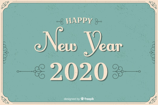 Vintage stijl nieuw jaar 2020