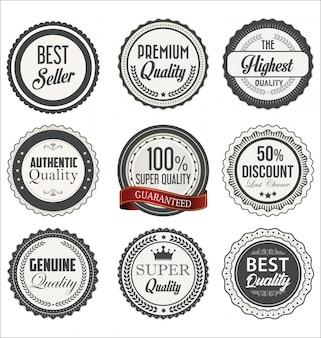 Vintage stijl premium kwaliteit en bestseller badges collectie