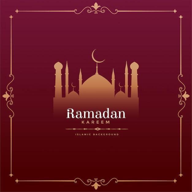 Vintage stijl ramadan kareem festival design met moskee vorm