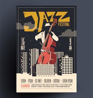 Vintage stijl retro live rockmuziek partij of evenement poster, flyer