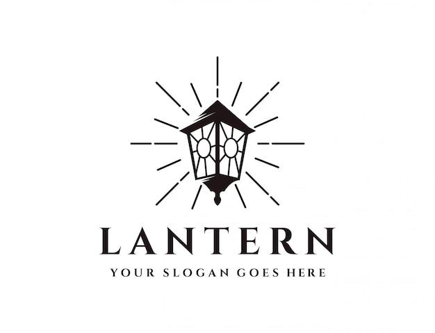 Vintage stralende lantaarn logo