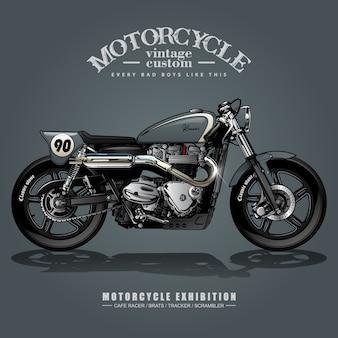 Vintage street tracker motorfiets poster