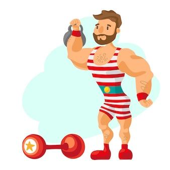 Vintage strongman. oude atleet. retro bodybuilder barbell. krachtige circusacteur.