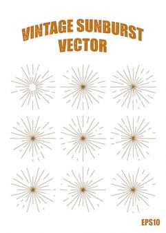 Vintage sunburst vectorelement, geïsoleerde afbeelding