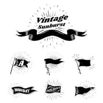 Vintage sunburst vlaggen
