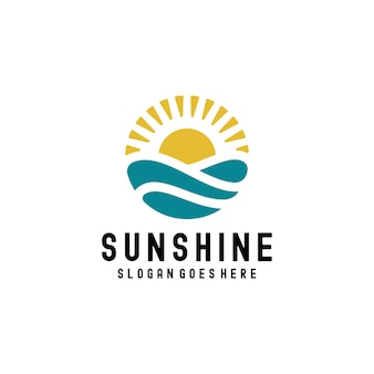 Vintage sunshine zonsondergang oceaan golven symbool logo ontwerp