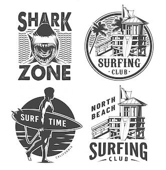 Vintage surf logo's zwart-wit set