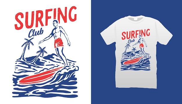 Vintage surfen illustratie