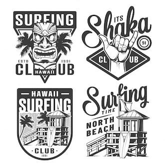 Vintage surfen logo's set