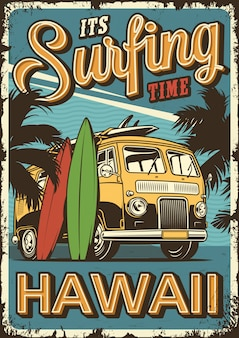 Vintage surfen poster