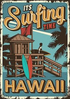 Vintage surfen tijd poster