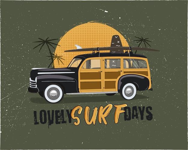 Vintage surfen. zomer embleem met retro woodie auto. heerlijke surfdagen typografie
