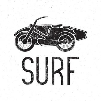 Vintage surfer motorfietsontwerp.