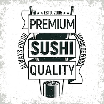 Vintage sushi bar logo ontwerp
