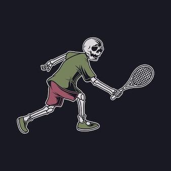 Vintage t-shirt ontwerp de schedel in een positie om de bal van de tegenstander te halen met zijn rackettennisillustratie