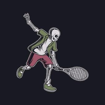 Vintage t-shirt ontwerp de schedel in een positie om de bal van de tegenstander tennisillustratie te halen