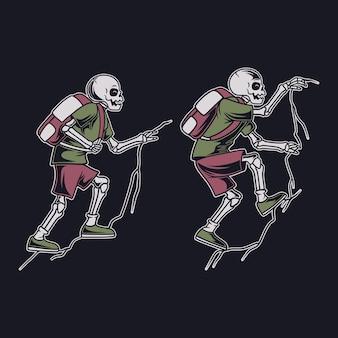 Vintage t-shirt ontwerp een rotsklimmen schedel wandelen illustratie