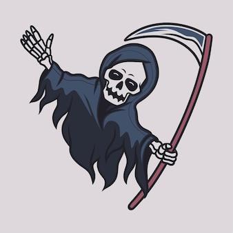 Vintage t-shirt ontwerp grim reaper gelukkig illustratie