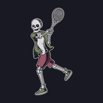 Vintage t-shirtontwerp de schedel die de bal met beide handen tennisillustratie raakt