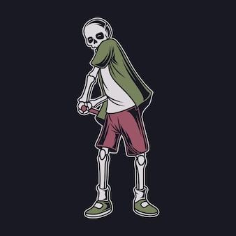 Vintage t-shirtontwerp de schedel doet een topgolfillustratie
