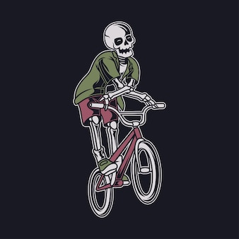 Vintage t-shirtontwerp de schedel speelt in een vliegende positie en roteert de fietsillustratie van het stuur