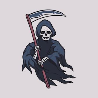 Vintage t-shirtontwerp grim reaper het voorste zicht draagt de bijlillustratie
