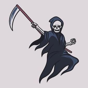 Vintage t-shirtontwerp grim reaper sprong met de positie van het vasthouden van de bijlillustratie