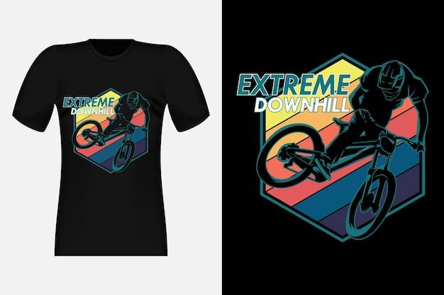 Vintage t-shirtontwerp met extreem bergafwaarts silhouet