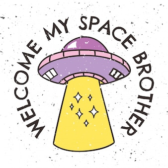 Vintage t-shirtontwerp met ufo en slogan