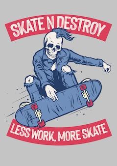Vintage t-shirtontwerp van skateboarden met punk skelet
