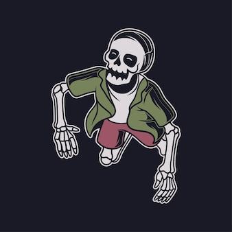 Vintage t-shirtontwerp vooraanzicht van een illustratie van de duikende schedel