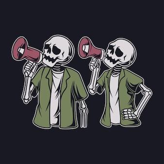 Vintage t-shirtontwerpschedel met een luidsprekerillustratie