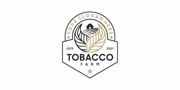 Vintage tabaksboerderij-logo met lijnstijl, logo-referentie