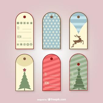 Vintage tags voor kerstcadeaus