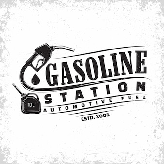 Vintage tankstation logo-ontwerp, embleem van benzinestation, gas- of diesel tankstation typographyv embleem, print stempels met gemakkelijk verwijderbare grange