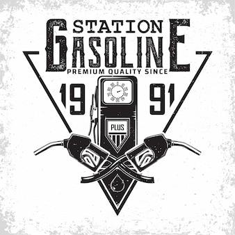 Vintage tankstation logo ontwerp