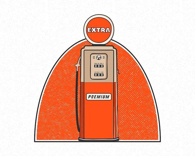 Vintage tankstation pomp artwork ontwerp