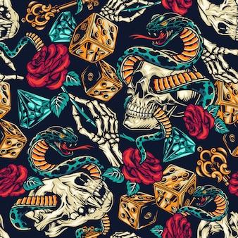 Vintage tatoeages kleurrijke naadloze patroon