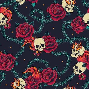 Vintage tatoeages naadloos patroon met schedel, bloemen, vlammen en prikkeldraaddoornen