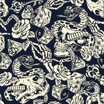 Vintage tatoeages naadloze patroon
