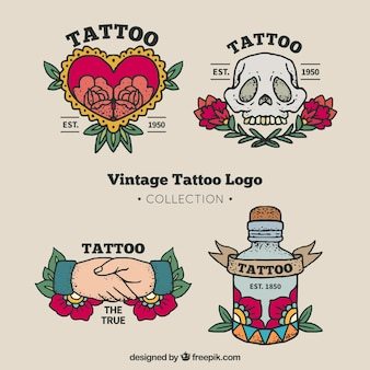 Vintage tattoo logo collectie