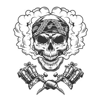 Vintage tattoo meester schedel in de wolk