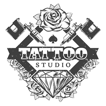 Vintage tattoo salon logo sjabloon